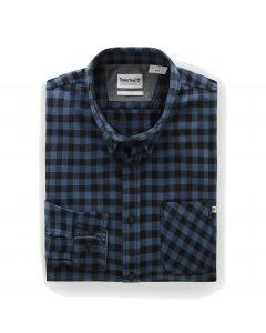 Long Sleeve Back River Brushed Cotton Check Shirt Navy Slim