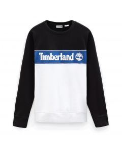 Cut and Sew Linear Logo Sweatshirt Blue and White
