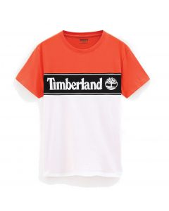 Cut and Sew Linear Logo Tee Orange and White