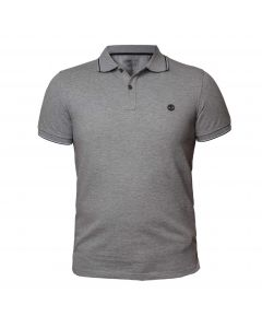 Millers River Pique Tipped Slim Polo Grey