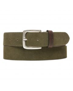 Textured Suede Leather Belt Olive Green
