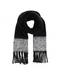 Colorblock Blanket Scarf Fringe black