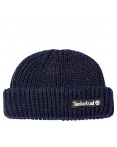 Timberland Shallow Beanie with Rubber Patch Navy