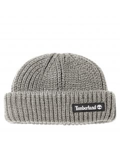 Timberland Shallow Beanie with Rubber Patch Grey