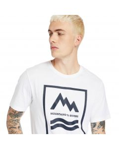 Timberland Men's SS MTR Print Crew Tee in White