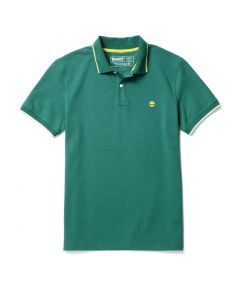 Millers River Pique Tipped Polo Slim Green