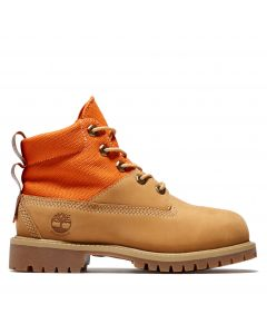 Junior 6-inch Fabric and Leather Waterproof Boot Wheat
