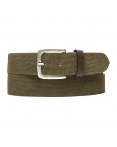 Textured Suede Leather Belt Olive