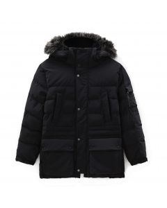 Mount Magalloway Mixed Media Parka Jacket Black
