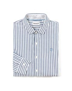 Eastham River Poplin Stripes Shirt Slim Blue
