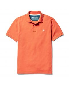 Millers River Pique Tipped Polo Slim Orange